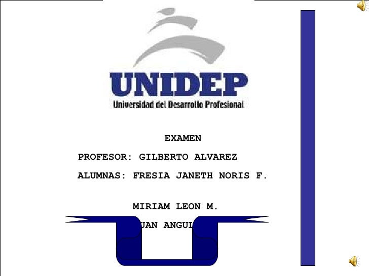 EXAMEN PROFESOR: GILBERTO ALVAREZ ALUMNAS: FRESIA JANETH NORIS F.  MIRIAM LEON M. JUAN ANGULO.