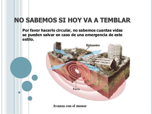 NO SABEMOS SI HOY VA A TEMBLAR  Por favor hacerlo circular, no sabemos cuantas vidas  se pueden salvar en caso de una emer...