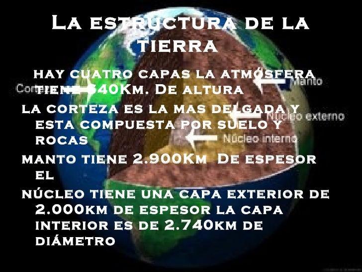 La estructura de la tierra   <ul><li>hay cuatro capas la atmósfera  tiene 640Km. De altura  </li></ul><ul><li>la corteza e...
