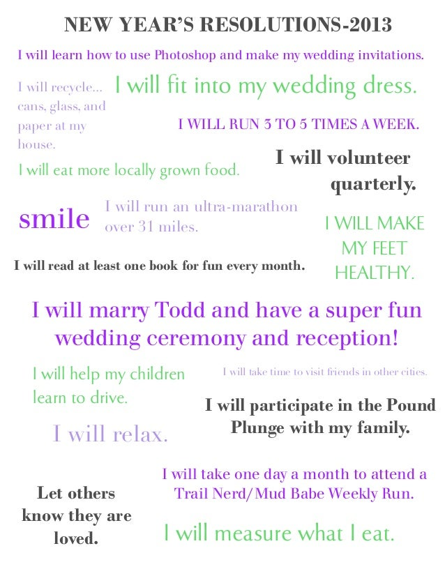 NEW YEAR'S RESOLUTIONS-2013I will learn how to use Photoshop and make my wedding invitations.I willrecycle...cans, glass,a...