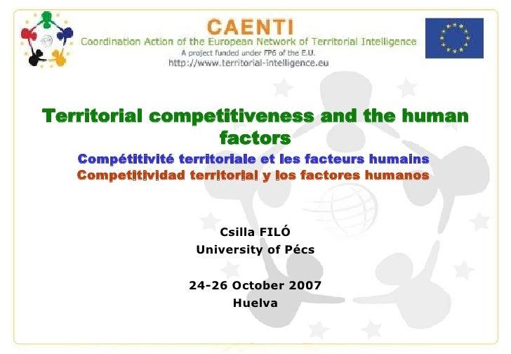 Territorial competitiveness and the human factors, Csilla FILÓ