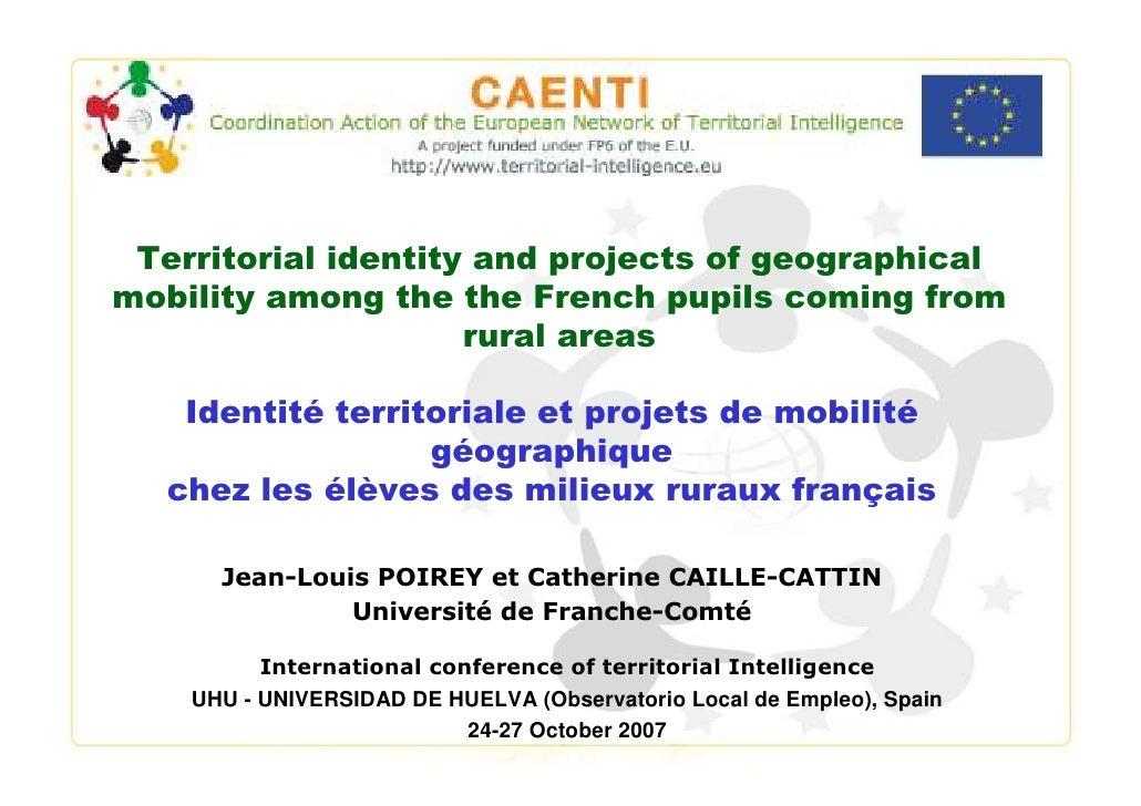Territorial identity and projects of geographical mobility among the the French pupils coming from                      ru...
