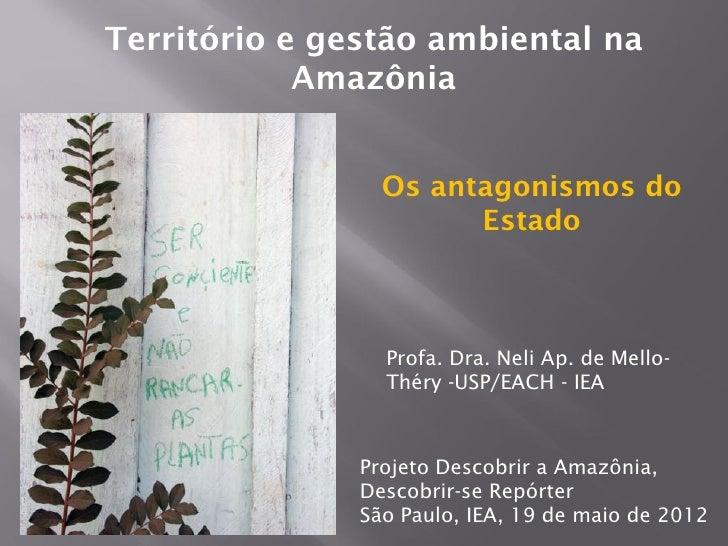 Território e gestão ambiental na            Amazônia                 Os antagonismos do                       Estado      ...