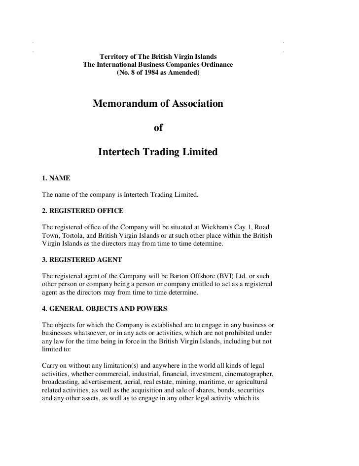 Territory of The British Virgin Islands              The International Business Companies Ordinance                       ...