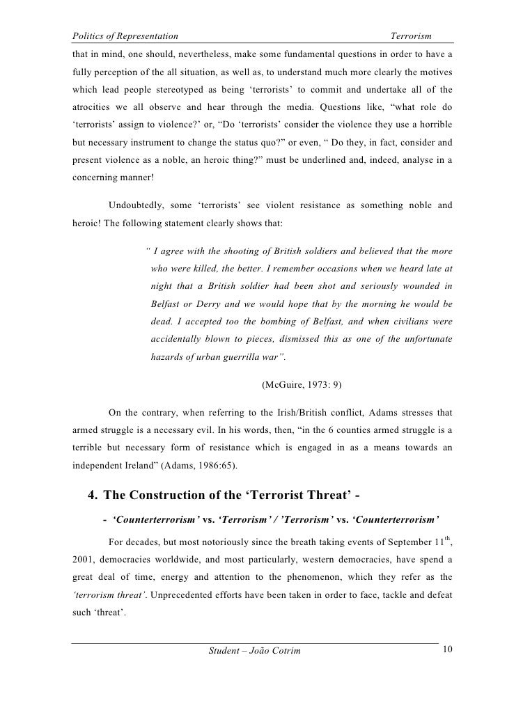 essay questions on terrorism This model essay is a comparison on strategy for combating terrorism in general, the project should be a political science paper that addresses national.