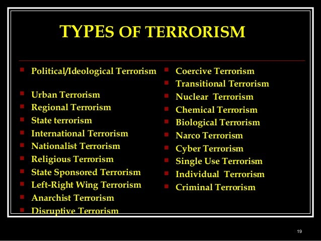 an analysis of the meaning of terrorist acts and the types of terrorism Review the definition, examine the history, and explore the types of terrorism that   the war in lebanon also started, which brought with it terrorist acts which.