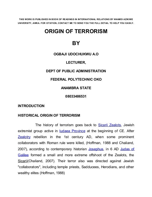 Terrorism main book chapter by ogbaji