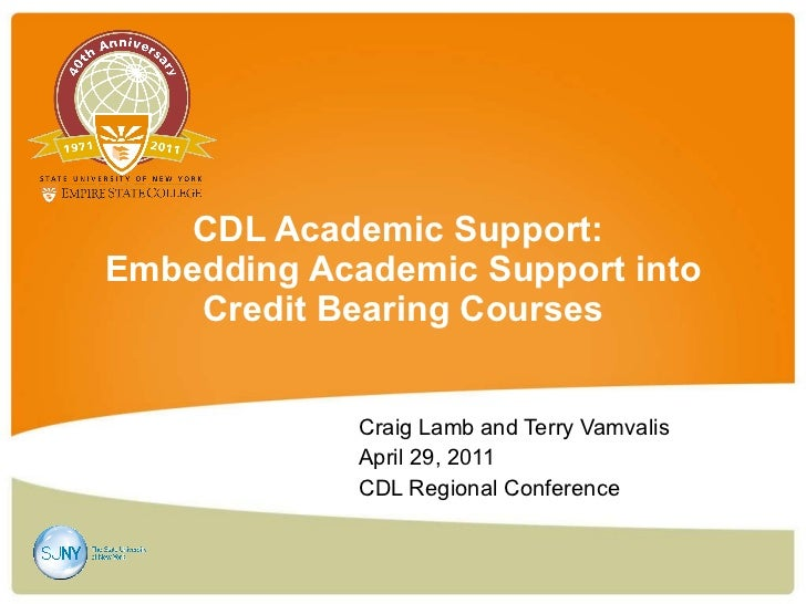 CDL Academic Support:  Embedding Academic Support into Credit Bearing Courses Craig Lamb and Terry Vamvalis  April 29, 201...