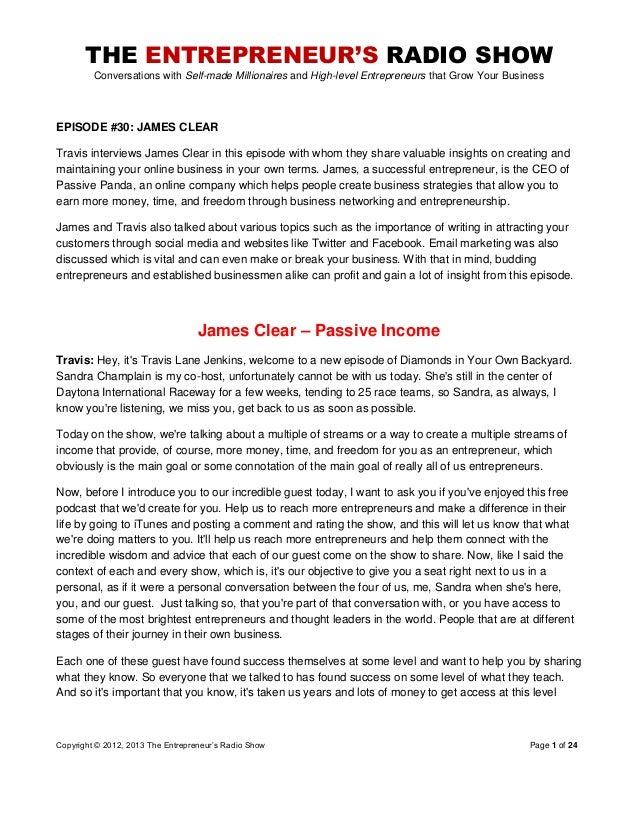 The Entrepreneurs Radio Show 030 James Clear
