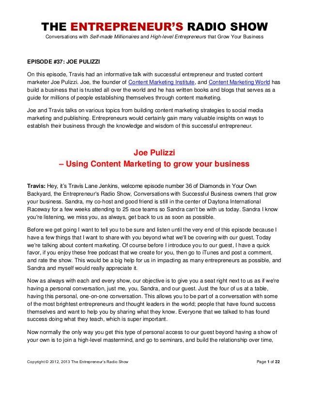 The Entrepreneurs Radio Show 037 Joe Pulizzi
