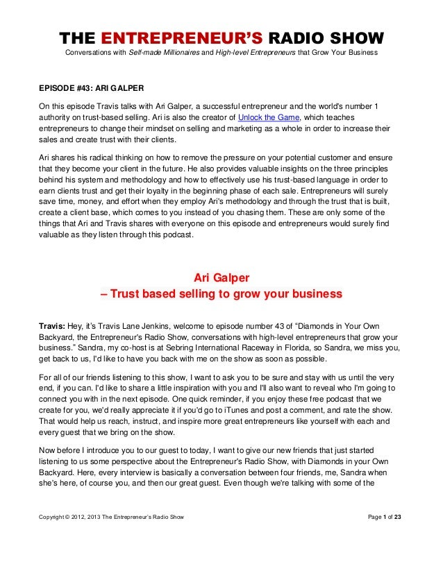 The Entrepreneurs Radio Show 043 Ari Galper