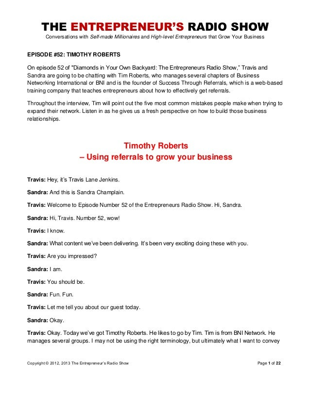 The Entrepreneurs Radio Show 052 Timothy Roberts