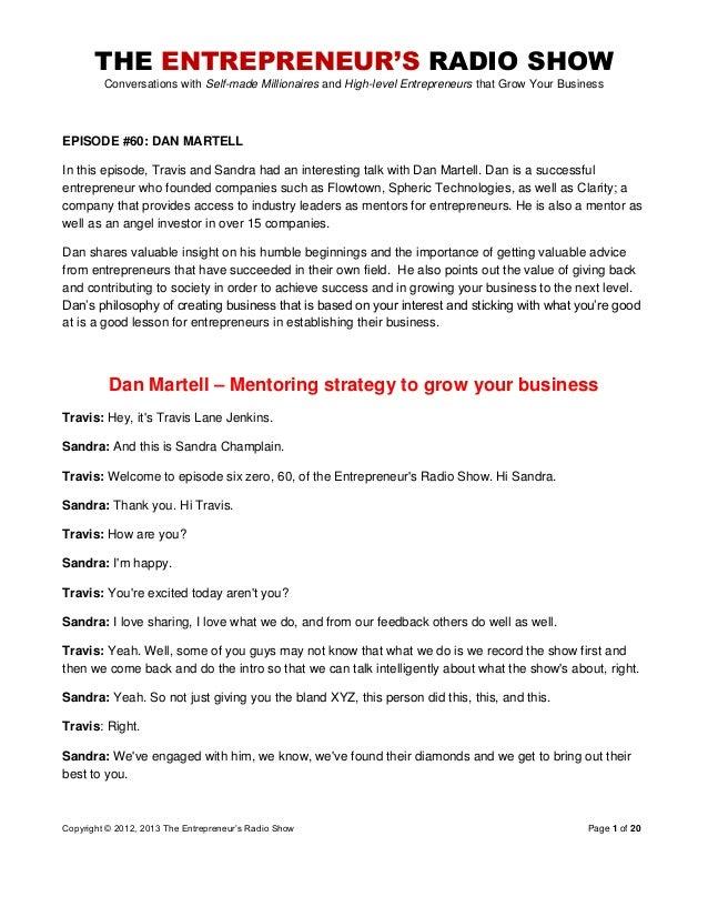 The Entrepreneurs Radio Show 060 Dan Martell