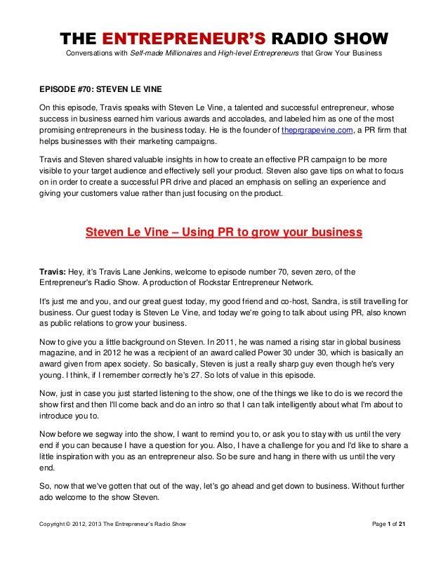 The Entrepreneurs Radio Show 070 Steven Levine