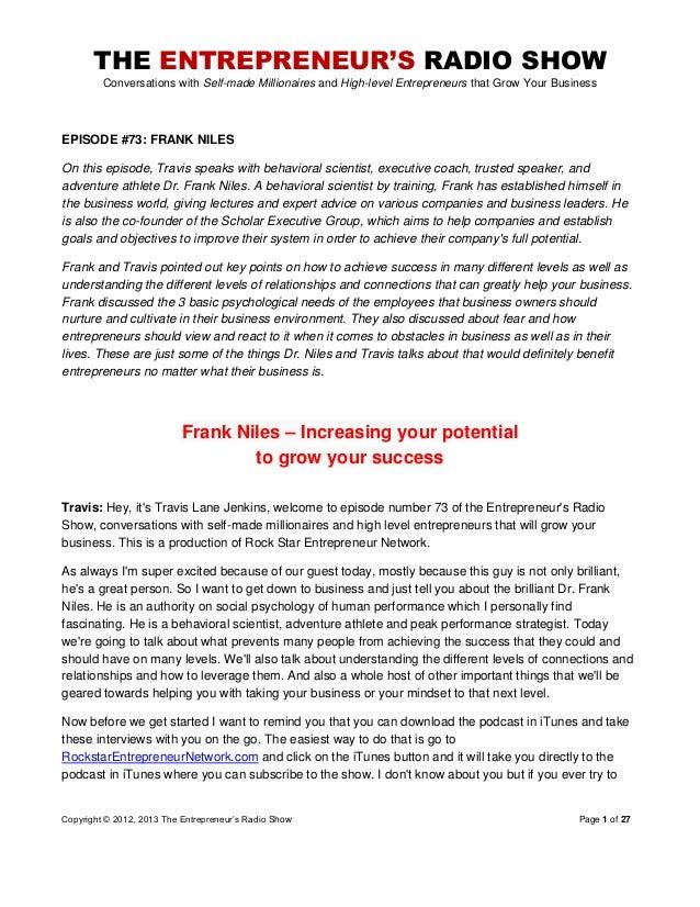 The Entrepreneurs Radio Show 073 Frank Niles