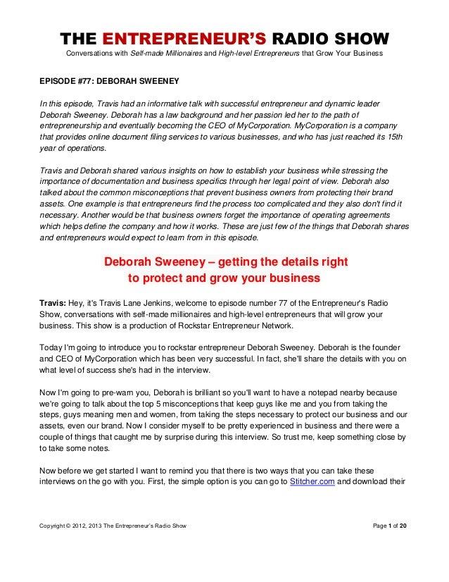 The Entrepreneurs Radio Show 077 Deborah Sweeney