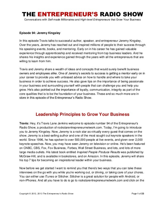 The Entrepreneurs Radio Show 094 Jeremy Kingsley