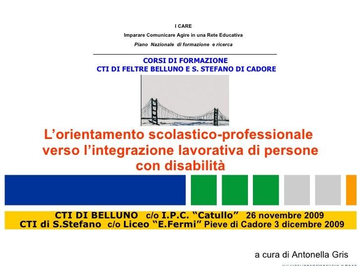 L'orientamento scolastico-professionale  verso l'integrazione lavorativa di persone con disabilità a cura di Antonella Gri...