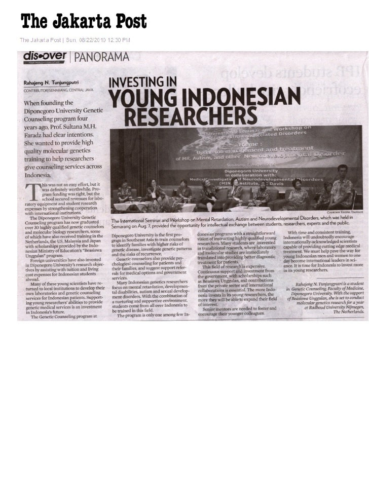 Investing in Young Indonesian Researchers - The Jakarta Post 22 August 2010, Rahajeng N. Tunjungputri
