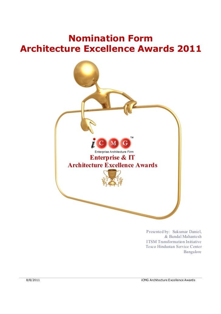 Tesco Architecture Excellence Award Application