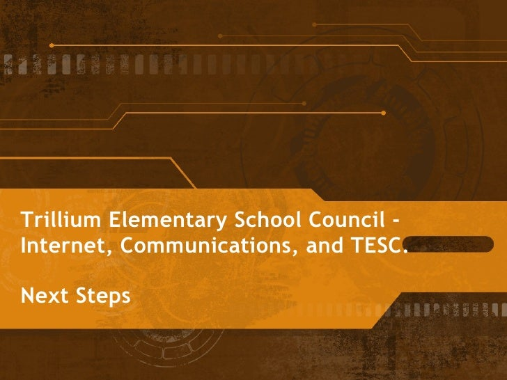 Trillium Elementary School Council -  Internet, Communications, and TESC. Next Steps