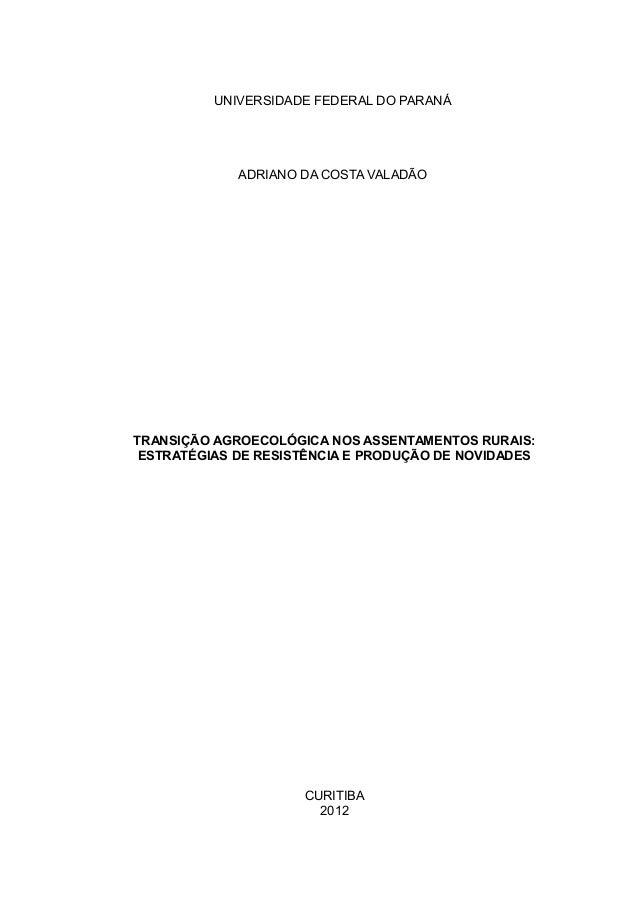 1 UNIVERSIDADE FEDERAL DO PARANÁ ADRIANO DA COSTA VALADÃO TRANSIÇÃO AGROECOLÓGICA NOS ASSENTAMENTOS RURAIS: ESTRATÉGIAS DE...