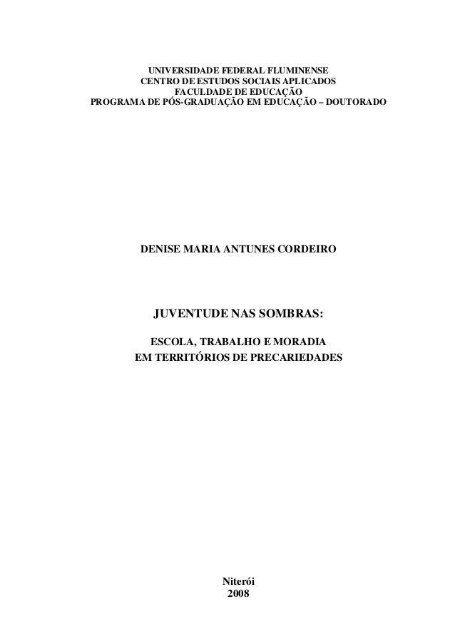 Tese de denise maria antunes cordeiro na educação da uff em 2008