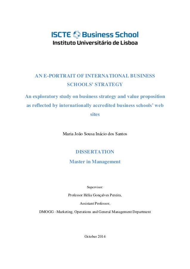 Master dissertation as per international business