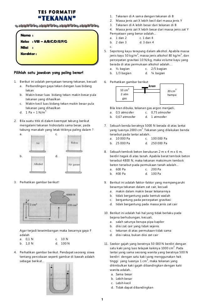 Tes Formatif Tekanan Zat Padat Cair Dan Gas