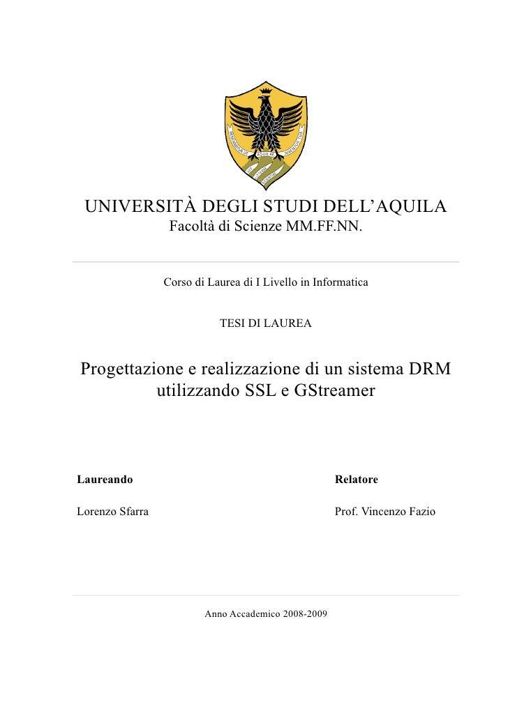 Progettazione e realizzazione di un sistema DRM utilizzando SSL e GStreamer