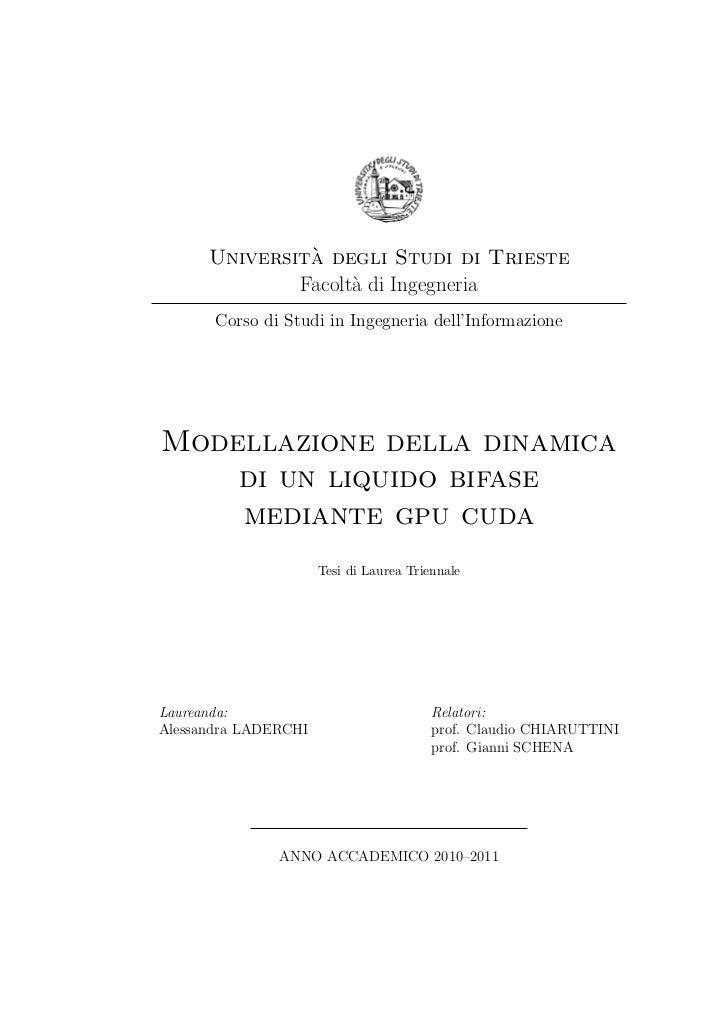 `      Universita degli Studi di Trieste              Facolt` di Ingegneria                    a       Corso di Studi in I...
