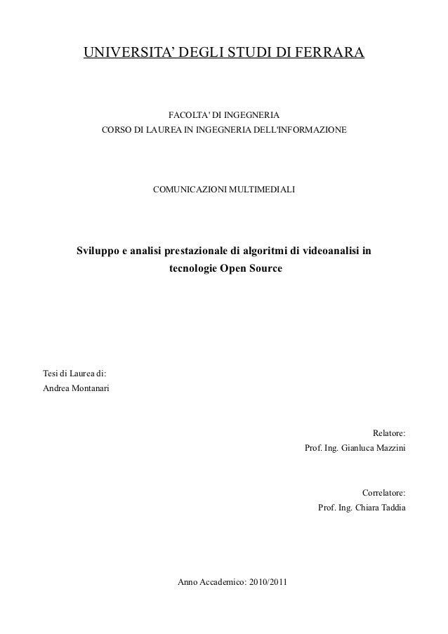 Sviluppo e analisi prestazionale di algoritmi di videoanalisi in  tecnologie Open Source