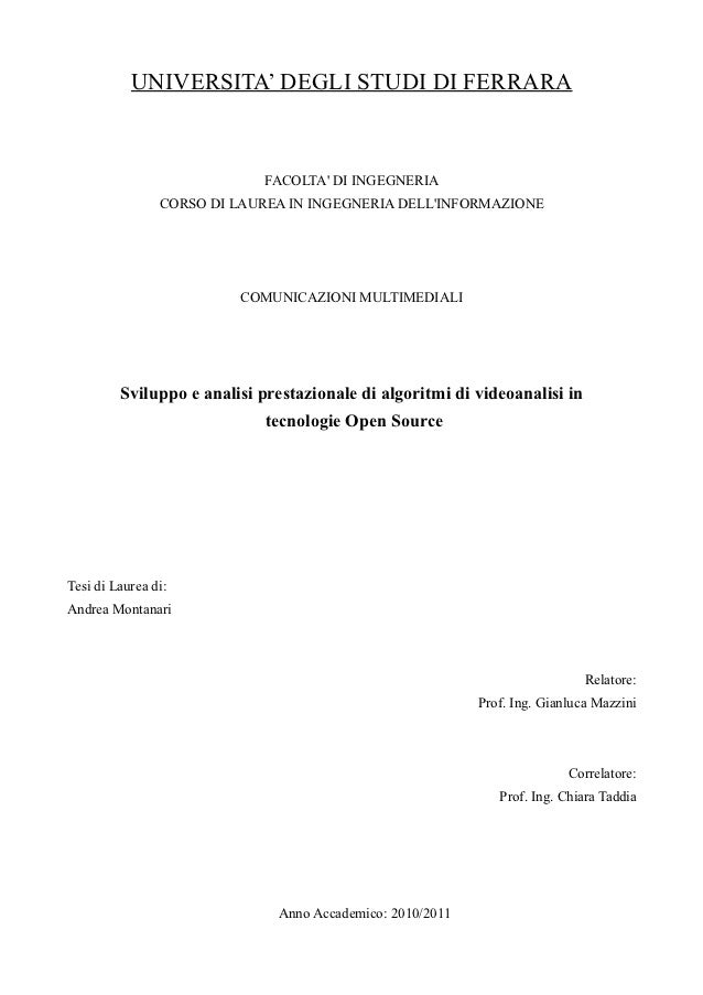UNIVERSITA' DEGLI STUDI DI FERRARA                             FACOLTA DI INGEGNERIA                CORSO DI LAUREA IN ING...