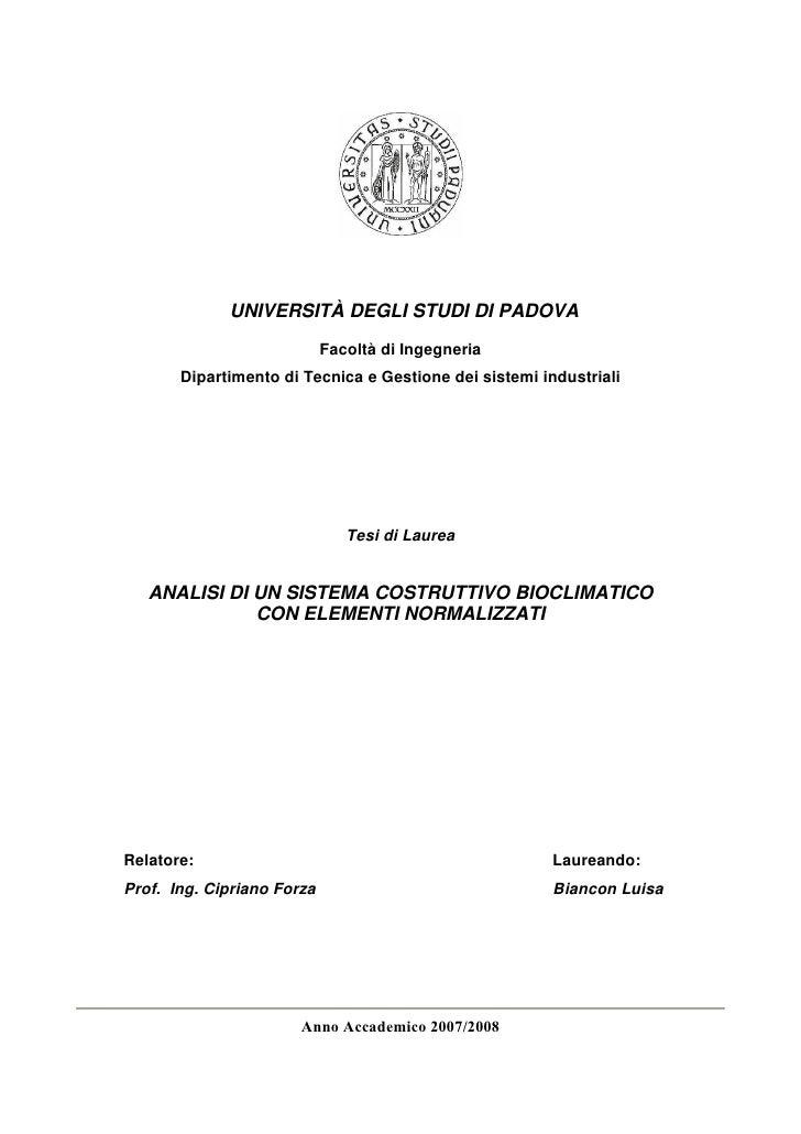 UNIVERSITÀ DEGLI STUDI DI PADOVA                              Facoltà di Ingegneria        Dipartimento di Tecnica e Gesti...