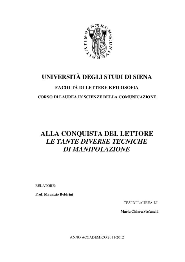 Manipulation techniques in journalism - Thesis by Maria Chiara Stefanelli