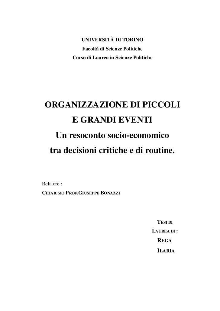 UNIVERSITÀ DI TORINO                 Facoltà di Scienze Politiche             Corso di Laurea in Scienze Politiche ORGANIZ...