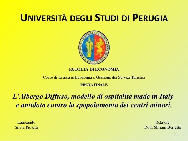 L'Albergo Diffuso di Labro, tesi di Laurea di Silvia Proietti