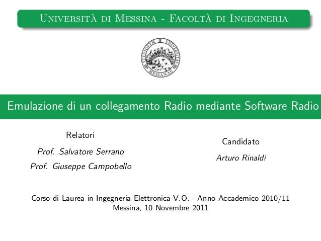 `                    `      Universita di Messina - Facolta di IngegneriaEmulazione di un collegamento Radio mediante Soft...