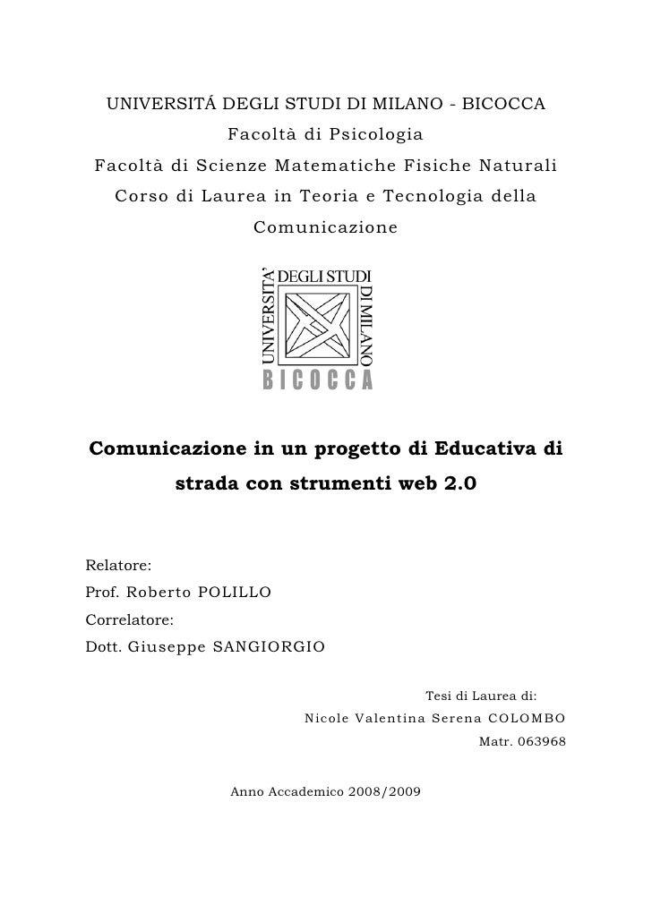 UNIVERSITÁ DEGLI STUDI DI MILANO - BICOCCA                    Facoltà di Psicologia  Facoltà di Scienze Matematiche Fisich...