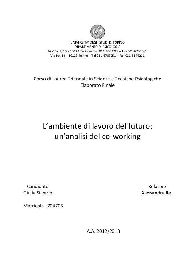 UNIVERSITA' DEGLI STUDI DI TORINO DIPARTIMENTO DI PSICOLOGIA Via Verdi, 10 – 10124 Torino – Tel. 011-6702785 – Fax 011-670...