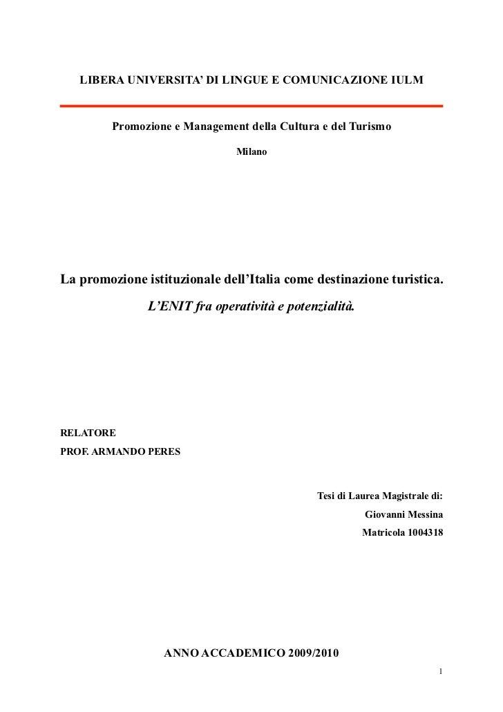 La promozione istituzionale dell'Italia come destinazione turistica. L'ENIT fra operatività e potenzialità