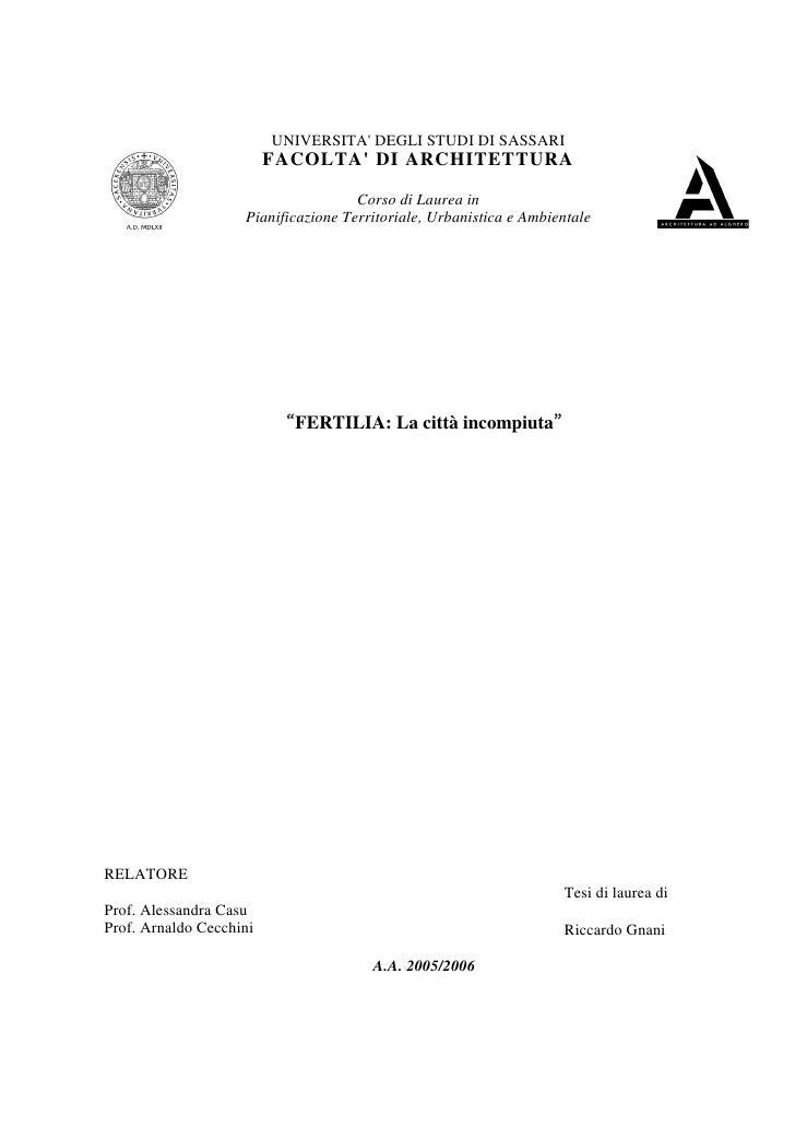 Tesi laurea triennale - Fertilia la città incompiuta