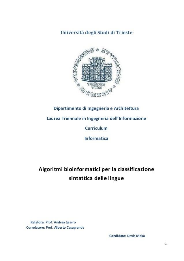 Algoritmi bioinformatici per la classificazione sintattica delle lingue