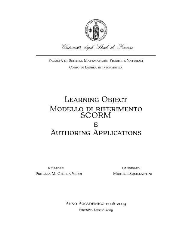 LEARNING OBJECT MODELLO DI RIFERIMENTO SCORM E AUTHORING APPLICATIONS