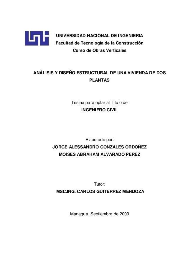 Tesina analisis y dise o estructural de una vivienda de for Diseno estructural pdf