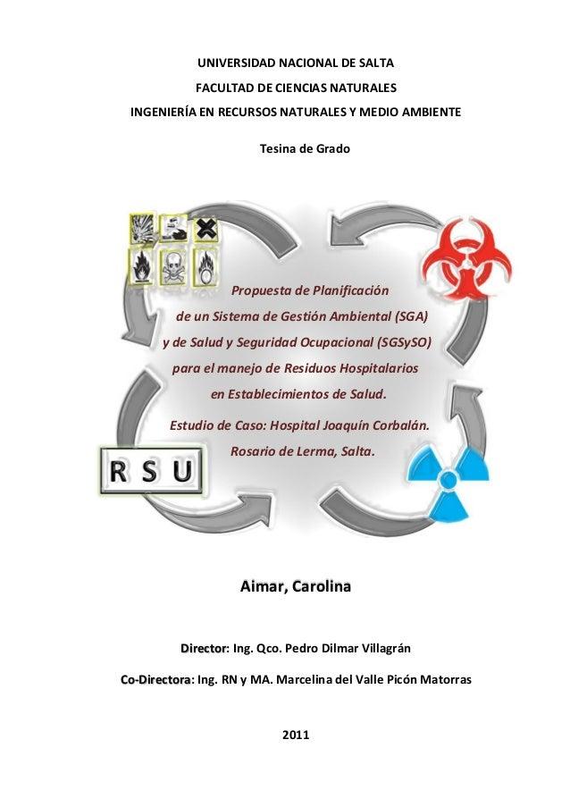 Sistema de Gestión Ambiental y de Salud y Seguridad Ocupacional  para el manejo de Residuos Hospitalarios en Establecimientos de Salud.
