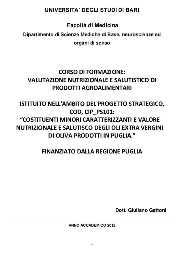 Giuliano Gattoni - Valutazione nutrizionale e salutistico di prodotti agroalimentari