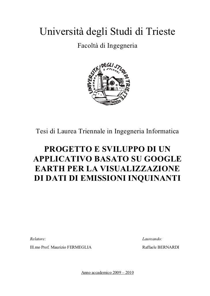 Progetto e sviluppo di un applicativo basato su Google Earth per la visualizzazione di dati di emissioni inquinanti
