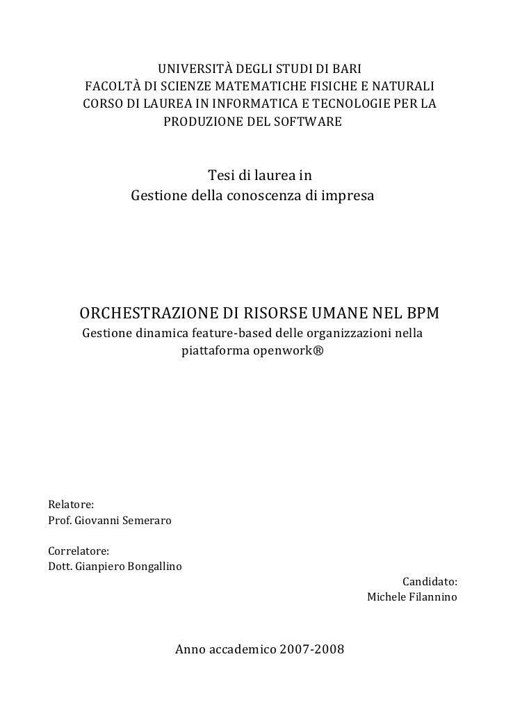 UNIVERSITÀ DEGLI STUDI DI BARI       FACOLTÀ DI SCIENZE MATEMATICHE FISICHE E NATURALI       CORSO DI LAUREA IN INFORMATIC...