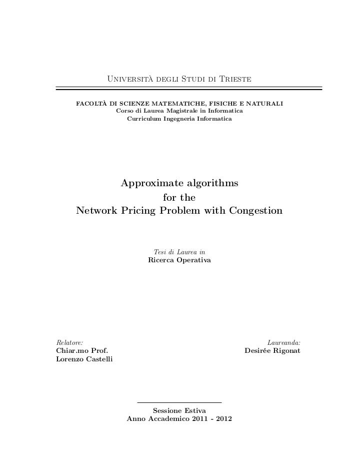 Approximate Algorithms for the Network Pricing Problem with Congestion - MS thesis